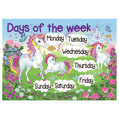 Days Of The Week Poster Wall Chart Educational Kids Girls Children Unicorn Theme