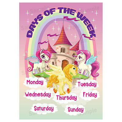 Days Of The Week Poster Wall Chart Educational Kids Girl Children Unicorns Theme