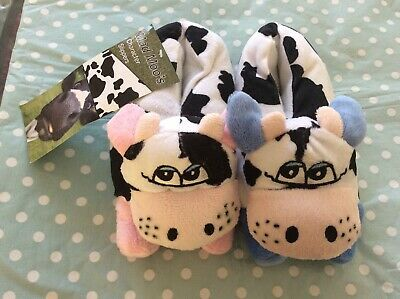 Kids Slippers size 10 11 12 Girls Boys kids novelty Cow Moo  New with tag xmas