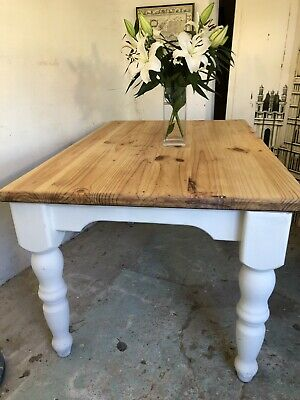 Antique Vintage Pine Chunky  Farmhouse Kitchen Dining Table Refurbished