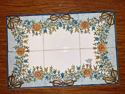 "Antique C. Gomil Handpainted Tile Mural Portugal Flowers & Bows Ana 18"" X 12"""