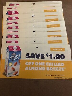 10 Coupons X Save $1 Off One Chilled Almond Breeze