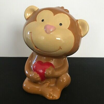 VINTAGE SMILING HAND PAINTED CERAMIC MONKEY w/HEART BANK Money Coin Change LOVE