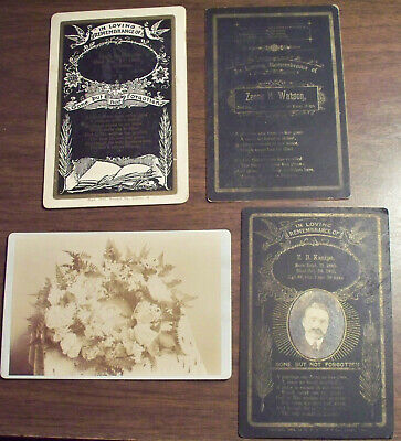 Death Remembrance In Memory Of Cabinet photo lot & Memorial Wreath cabinet photo