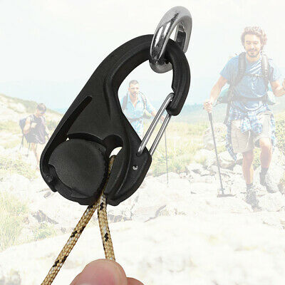 For Rope Card Lanyard Hook Without Lanyard Carabiner Clip Cord Tightener Black