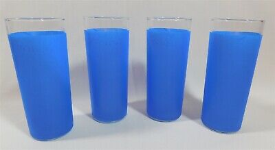 4 Vtg Libbey Tall Frosted Blue Iced Tea Tom Collins Zombie Glasses Set 6""
