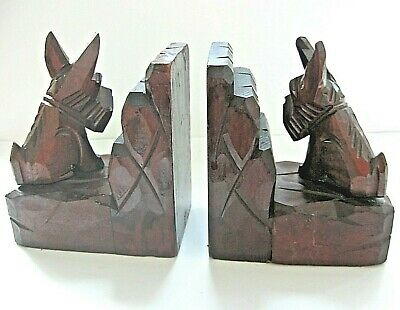 Pair Art Deco antique carved Wood Scotty dog bookends Hand Carved Black Forest