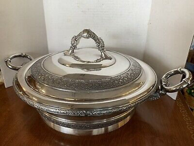 Antique PAIRPOINT Quad Silverplate 3 Pc Casserole Serving Dish 2450 10