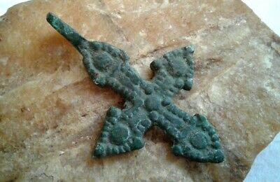 "ANTIQUE c.10-13th CENTURY BRONZE VIKING-AGE  ""ARROW HEAD""-STYLE CROSS PENDANT"