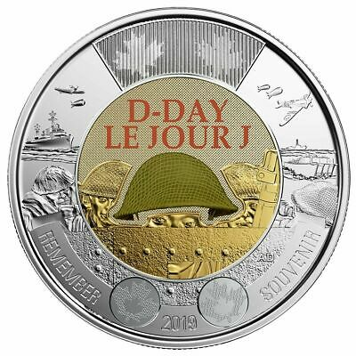 NEW! 2019 Canada $2 D-Day UNC Coloured Toonie Coin From Special Wrap Roll