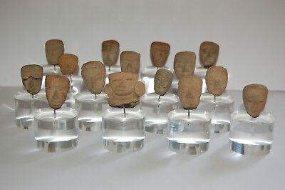 Collection of 15 Pre-Columbian Heads on Acrylic Stands