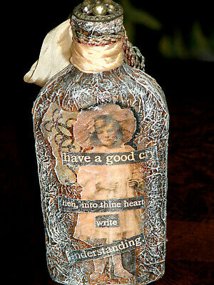 Mixed Media Altered Art Apothecary Bottle With Antique Button Top Have Good Cry