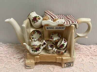 🌹Rare 1996 Royal Albert Old Country Roses Dish Peddler Earthenware Mini Teapot