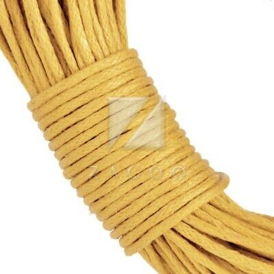 20M Waxed Cotton Cord Wire Jewellery Findings DIY Bracelet Necklace 1x1mm Yellow