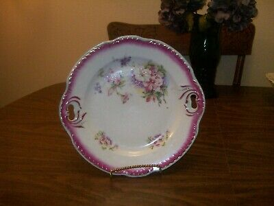 Antique Germany Porcelain Beautiful Floral Cake Plate