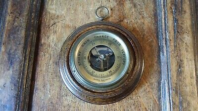 Vintage Antique Aneroid Wall Barometer Skeleton Movement  Oak Good Working Order