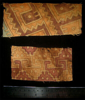 Two Pre-Columbian Chancay Painted Textile Fragments