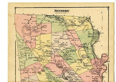 Old 1877 map of Newbury, Vermont from Atlas of Orange County, with family names