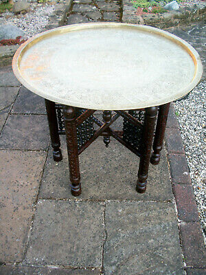 Large Antique Islamic Carved  Folding Side Table With Brass Tray Top