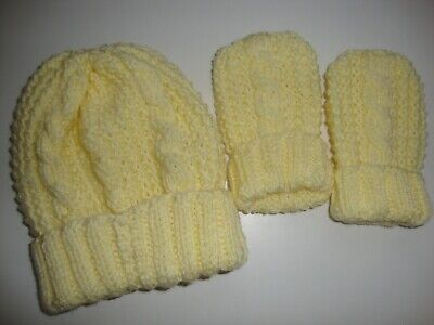 Hand Knitted Aran Baby Hat and Mitts, Lemon, Age 0-6 months, BNWOT,