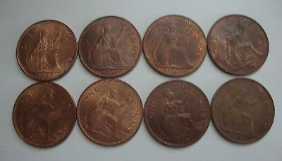 Small Collection of 8 Pre-Decimal GB Pennies from 1967, Circulated.