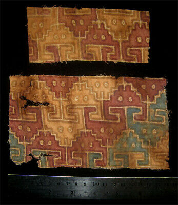 Two Pre-Columbian Chancay Painted Textile W/ Crabs