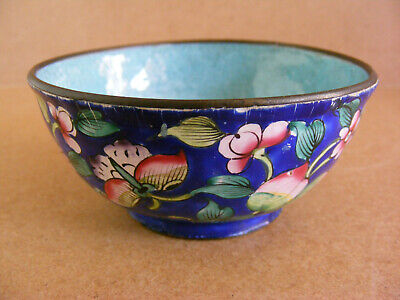 Antique Chinese Enamel on Copper Peach Flower and Butterfly Bowl