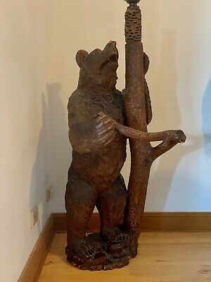 Rare Antique Black Forest Bear Lamp