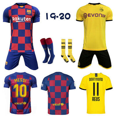 19/20 Football Kits Soccer Jersey Club Strips 3-13Yrs Kids Boys Sport Outfit