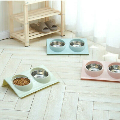 Pet Food Double Bowl Dog-Cat Water Iron Stand Stainless Steel Dish Puppy Feeder.