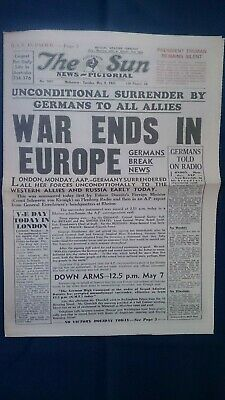 THE SUN NEWS PICTORIAL NEWSPAPER Tue May 8, 1945  WAR ENDS IN EUROPE - V-E DAY