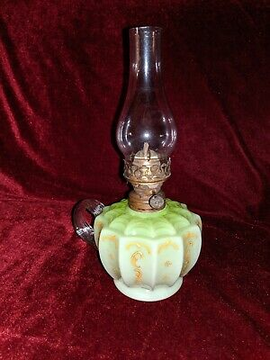 A Lovely Victorian Green Glass Finger Oil Lamp With Reeded Handle