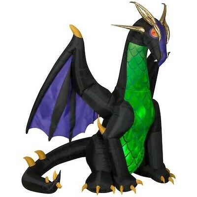 HALLOWEEN 9 Ft ANIMATED WINGS DRAGON WITH SWIRLING LIGHTS Airblown Inflatable