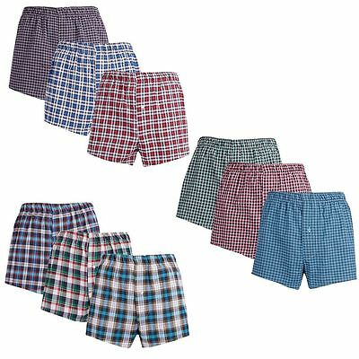 3 Pack Mens Boxers Shorts Woven Check Cargo Bay Loose Trunks Cotton Bottoms