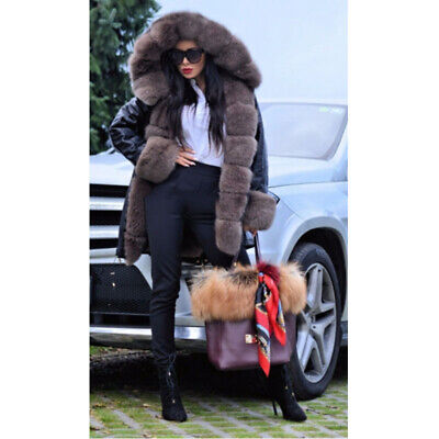 Women's Real Fox Fur Collar With Rabbit Fur Lining Parka Winter Warm Outerwear