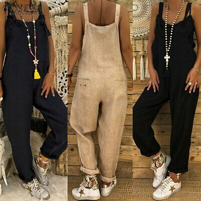Cotton Linen Women'S Sleeveless Jumpsuits  Loose Pompers Overalls Plus Size YQ
