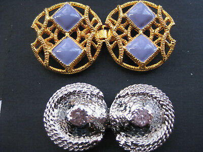 Ex Large Gold Lavender &  Italian Silver Hook Eye Closures Vintage Sewing Clasps