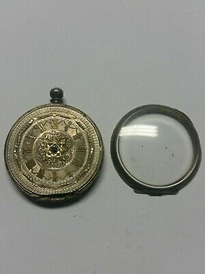 Pocket Watch Antique 40 Mm Solid Silver 0.935 Beautiful Gold Filled Face