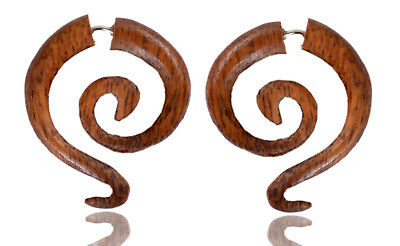 Ethnic Handmade Wood Boho Wooden Fake Gauge Earring Combo27