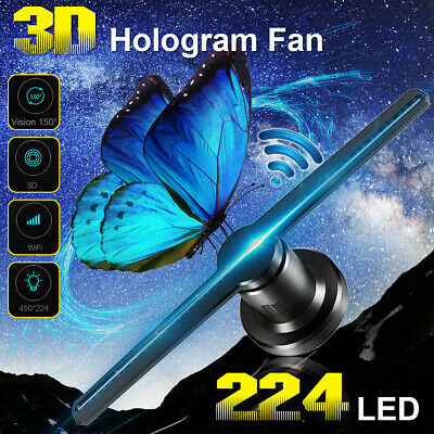 42cm WIFI 3D Holographic Projector Display Fan 224 LED Hologram Player Lamp Ad