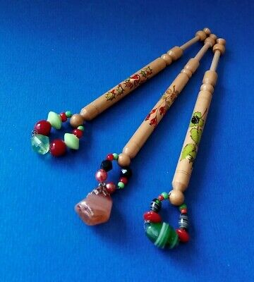 3 Wood Lace Bobbins By S.Gates.Cotswold Lace & Hawthorn, Ladybird,Robin.Spangles