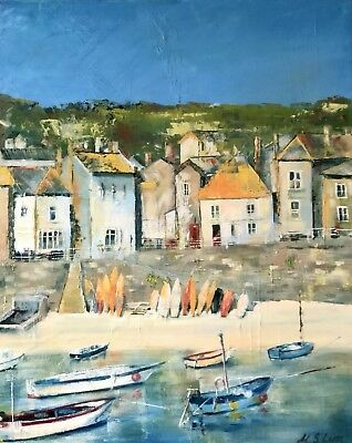Genuine  hand painted oil on canvas  Cornwall Architecture Sea 15.7x19.6 ins
