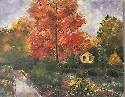 Genuine   hand painted oil on canvas  Autumn English Countryside 19.6x15.7 ins