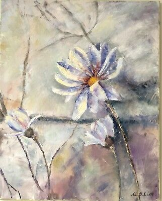 Genuine  hand painted oil on canvas  Flowers 15.7x19.6 ins
