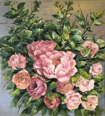Flowers Peonies Genuine  hand painted oil on canvas  18x 20ins