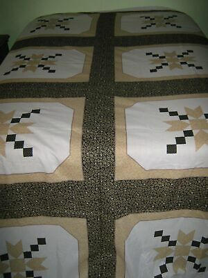 Cheater Quilt Fabric Panels Star 3 YD Brown Star 8 Blocks Pillow Craft Valance
