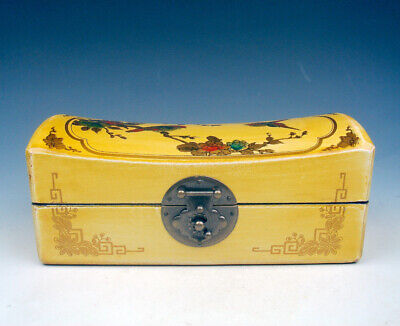 """Yellow Finish Birds Flowers Leather Wooden Large Jewelry Box 7"""" #09011901"""