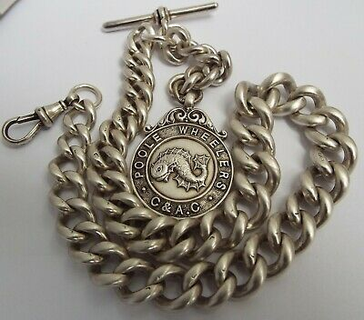 SUPERB VERY CHUNKY HEAVY 92g ENGLISH ANTIQUE 1898 STERLING SILVER ALBERT CHAIN