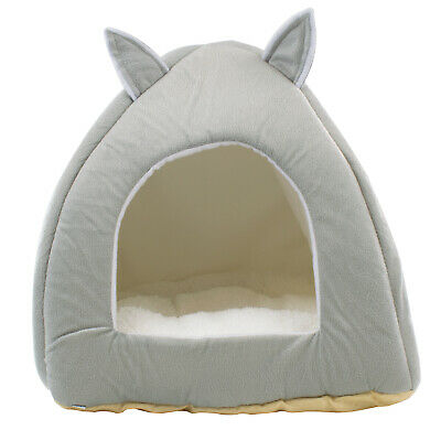 DIGFILEX Grey Teddy Bear Style Pet Bed – Fleece Cat Bed Hut - 40 x 40 x 35cm