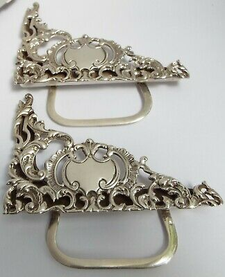 Superb Large Pair English Antique 1899 Sterling Silver Menu Name Place Holders